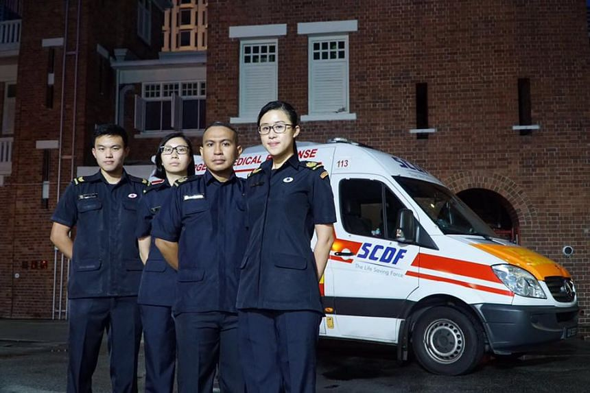The SCDF crew from ambulance 113 who were commended by Prime Minister Lee Hsien Loong in responding to an emergency call at the Istana on May 12, 2016.  From right: SSG Janice Lee, SSG Mohd Imran, PMT Sheena Chiang and CPL (NSF) Ian Lok.