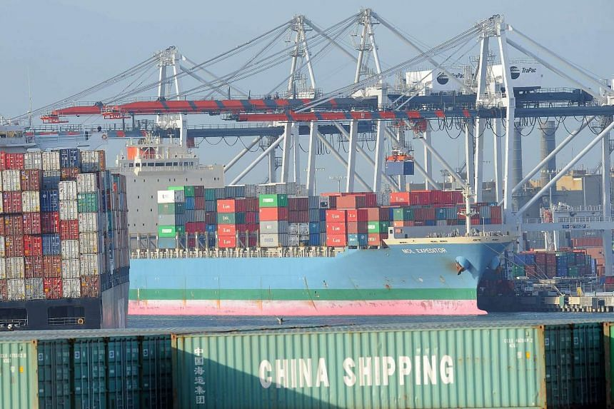 Containers being offloaded at the Port of Los Angeles in San Pedro, California.
