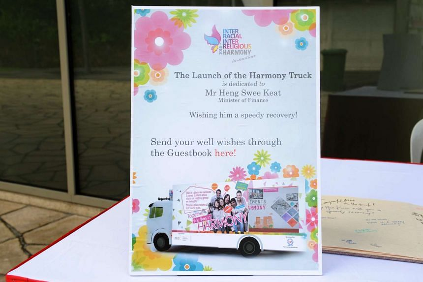 A sign indicating that the launch of the Harmony Truck has been dedicated to Finance Minister Heng Swee Keat.