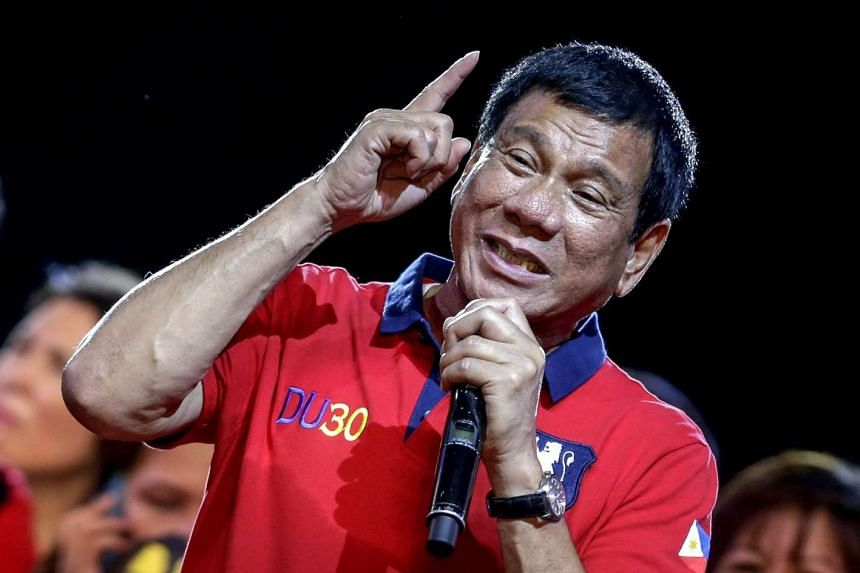Philippine President-elect Rodrigo Duterte speaking to supporters during a rally in Manila.