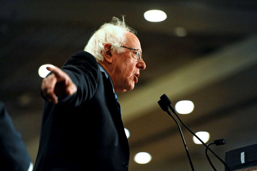 Democratic presidential candidate Bernie Sanders speaks with supporters during a rally in Fargo, North Dakota.