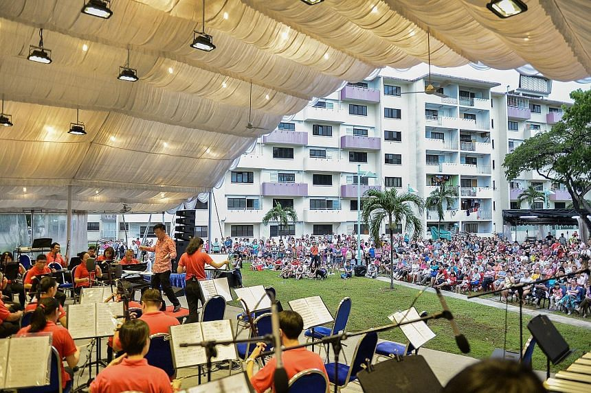 Sit back, relax or just choose a spot from which to watch. It was a pleasant day of music in the heartland yesterday for about 600 people who turned up at the open field beside Block 10, Dakota Crescent, for a performance by the Singapore Chinese Orc