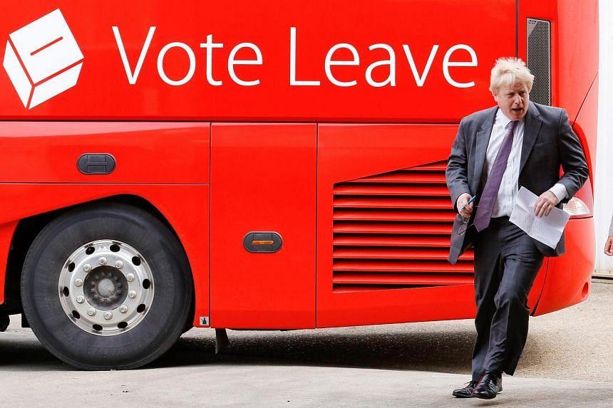 Boris Johnson, former mayor of London, arrives to speak at the Reid Steel factory.
