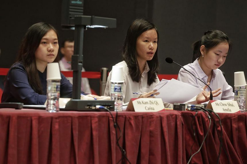 NUS students (from left) Carina Kam, Amelia Chew and Grace Teo at the Constitutional Commission hearing on elected presidency on May 6, 2016.