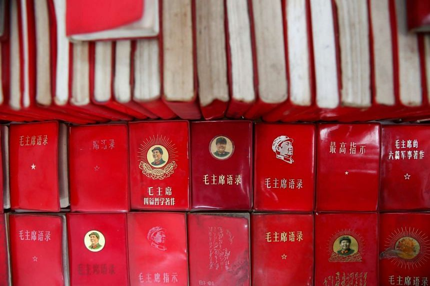 """Copies of """"Quotations from Chairman Mao Zedong"""", commonly known as the """"Little Red Book"""", are displayed at a exhibition hall at Jianchuan Museum Cluster in Anren, Sichuan Province, China, on May 13, 2016. Monday marks the 50th anniversary of the star"""