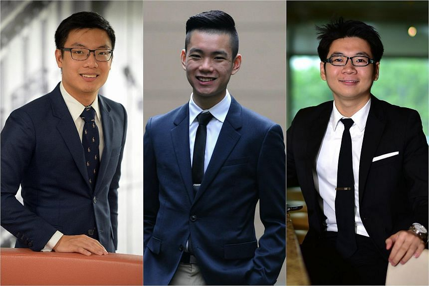 (From left) Ernest Ong, Darrell Lim and Malcolm Chan.