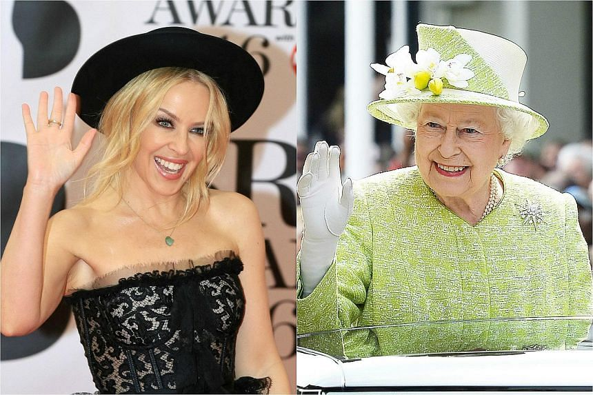 Kylie Minogue (left) is scheduled to take part in the celebration of Queen Elizabeth's 90th birthday on Sunday (May 15).