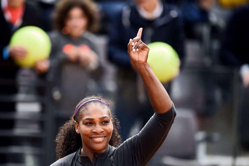 Serena Williams celebrates winning her semi-final match.