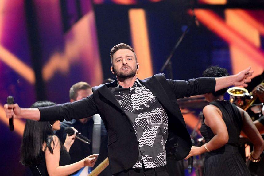 Justin Timberlake performs during the dress rehearsal.