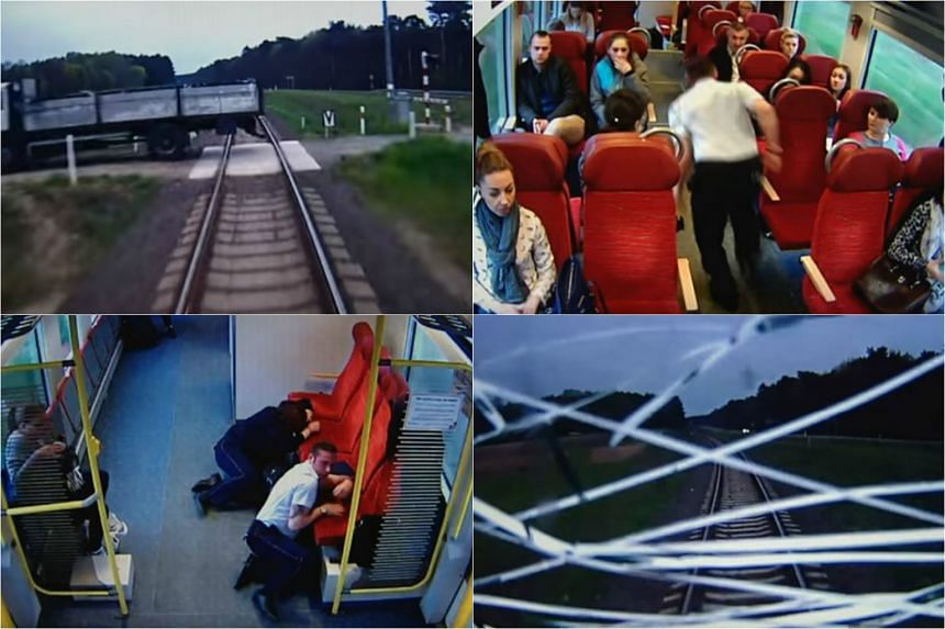Train driver Mateusz Szymanski has been lauded for warning passengers moments before his train crashed into a truck in western Poland.
