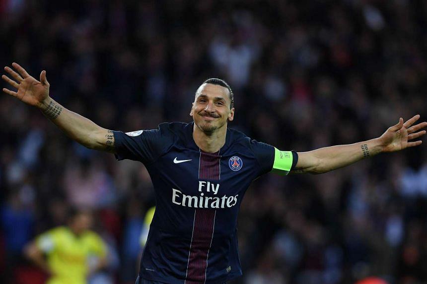 Zlatan Ibrahimovic celebrates his goal.