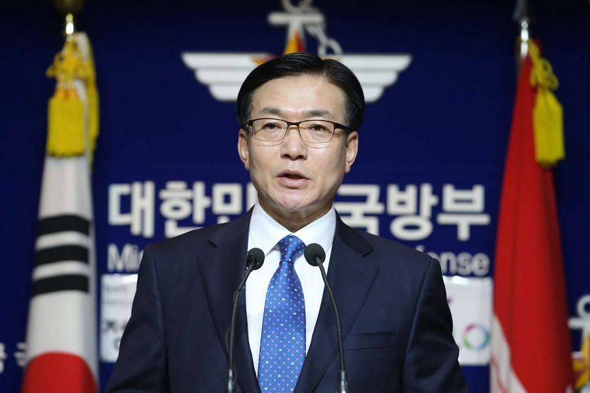 South Korea's Defence Ministry spokesman Moon Sang Gyun announces a plan to carry out a joint exercise with the United States and Japan in Hawaii in June, on May 16, 2016.