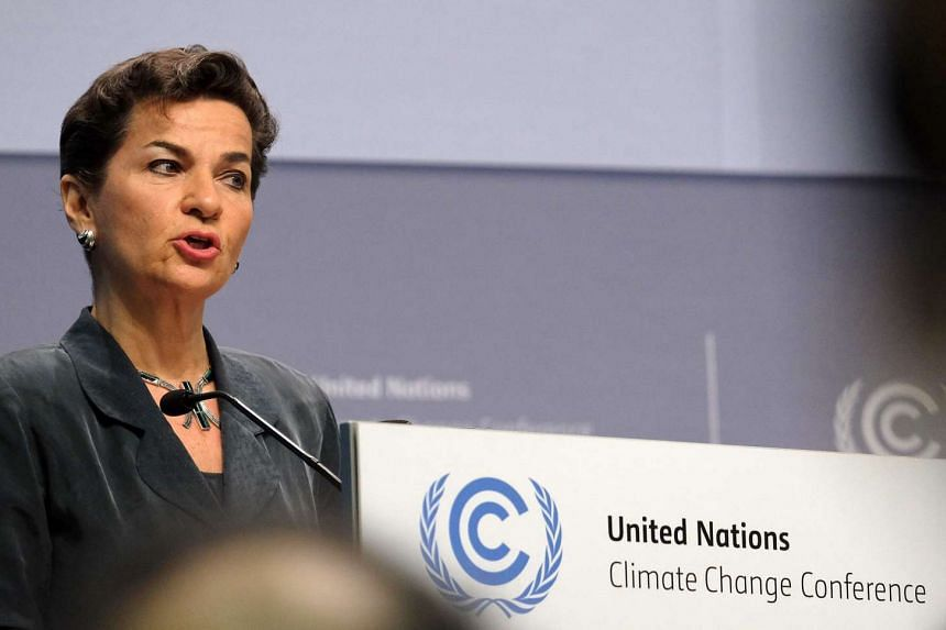 Executive Secretary of the United Nations Framework Convention on Climate Change Christiana Figueres speaks during the opening ceremony of the Bonn Climate Change Conference in Bonn, on May 16, 2016.