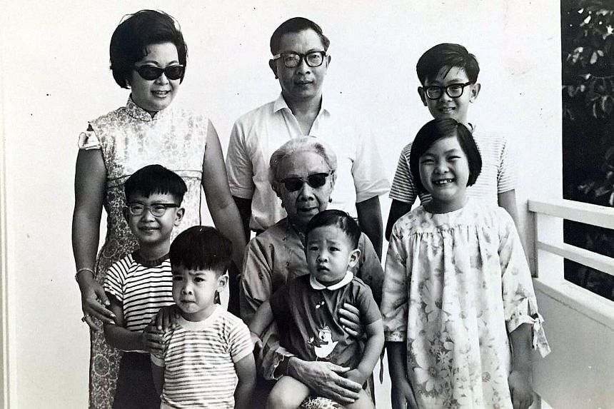 My Life So Far: With his grandmother at her house in Katong in 1968. (Back row, from left) Mother Elizabeth Lee, father Lee Kip Lee, Dick, (second row) John, paternal grandmother Tan Guat Poh (younger sister of Tan Cheng Lock, first president of the Malay