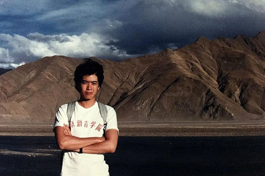 My Life So Far: Backpacking in Tibet in May 1986 when he was a student of the Beijing Language and Culture University (above), and with his mother, Elizabeth Lee, in London in 1990.