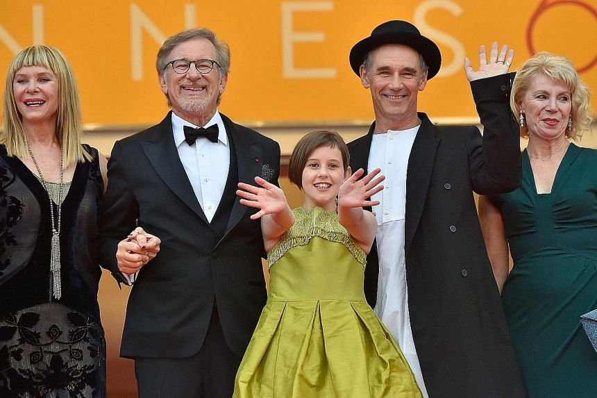 From left: Actress Kate Capshaw, director Steven Spielberg, cast members Ruby Barnhill and Mark Rylance and his wife Claire van Kampen at the screening of The BFG at the 69th Cannes Film Festival.