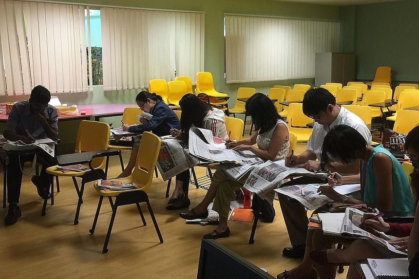 Teachers from West Spring Secondary School at an earlier journalism workshop conducted by The Straits Times Schools. The new day-long course on writing feature articles will run in June and takes a fun approach to the process of learning.
