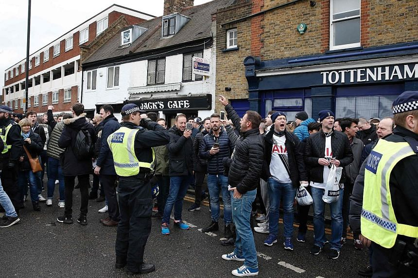 Spurs fans gathering at White Hart Lane for the EPL showdown between Tottenham Hotspur and Arsenal on March 5.