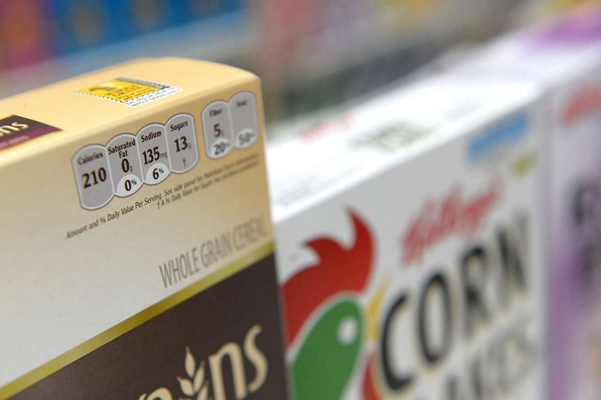 """A """"Guideline Daily Amount"""" product label on a product's packaging, detailing the amount of calories and nutrients in the product, as well as the contribution to an adult's recommended daily intake, as a percentage."""