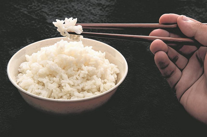 A bowl of white rice.