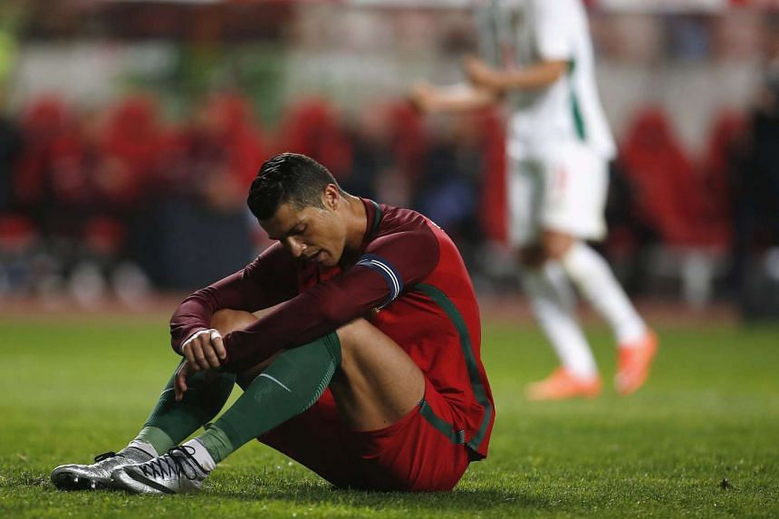 Portugal's Cristiano Ronaldo reacts against Bulgaria during an International friendly match.