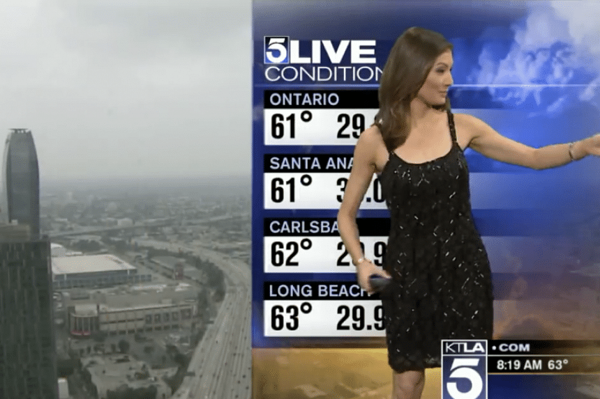 Meteorologist Liberté Chan was asked to cover up on-air right in the middle of her morning weather forecast on Saturday (May 14).