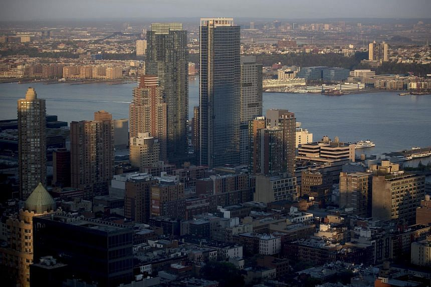 Residential buildings and towers standing on the west side of Manhattan near the Hudson River in New York, US, on May 4, 2015.