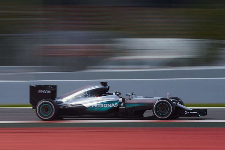 German Formula One driver Nico Rosberg steers his car during the first Formula One test in Montmelo, Barcelona, Spain, on May 17, 2016.