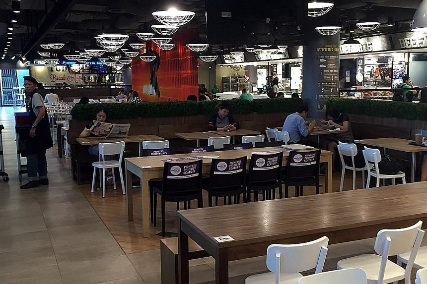 When The Straits Times visited the foodcourt at Kallang Wave Mall, many of the stalls were unoccupied. NTUC Foodfare, which operates the foodcourt, said it will resize to 10 stalls, down from the current 17. This should be done by the third quarter o