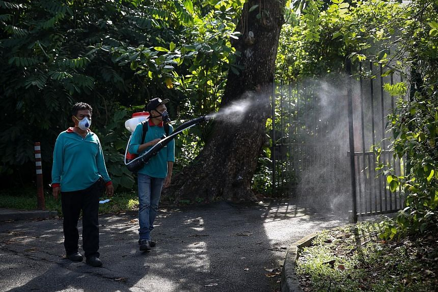 When The Straits Times visited Watten Estate yesterday, NEA and pest control officers were out in force misting, fogging drains, and carrying out home inspections.