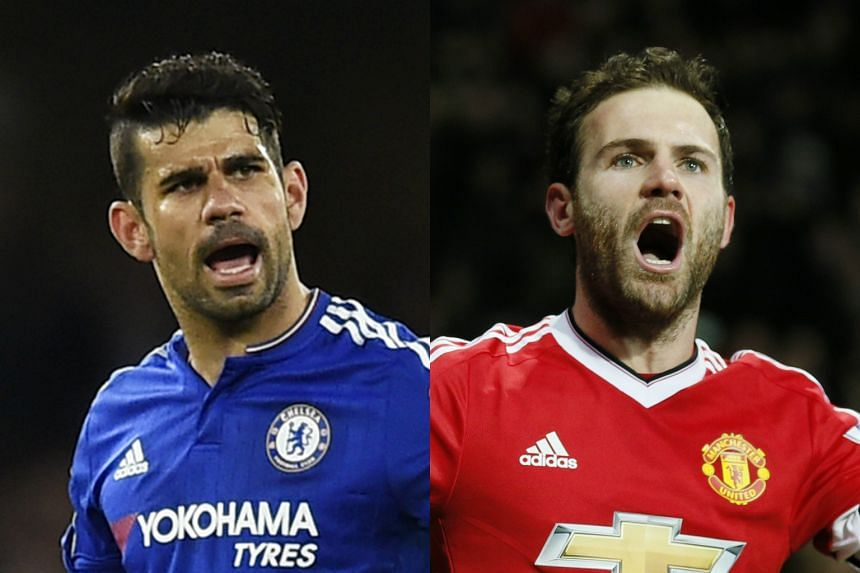 Chelsea striker Diego Costa (left) and Manchester United's Juan Mata were left out of Spain's squad for Euro 2016.