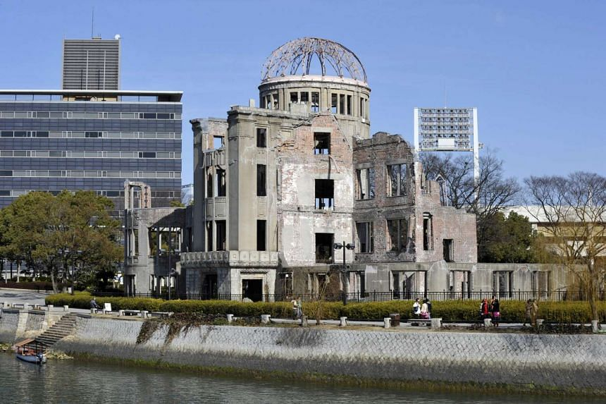 A file image dated Aug 6,  2015, shows the atomic bomb dome during the peace memorial ceremony marking the 70th anniversary of the atomic bombing at Hiroshima Peace Memorial Park in Japan.