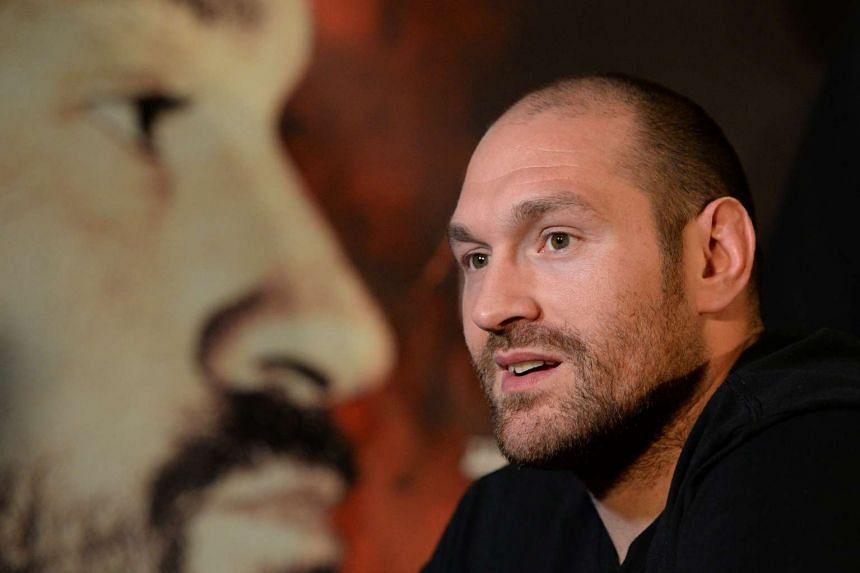 British heavyweight boxer Tyson Fury speaking during a press conference to publicise his forthcoming world heavyweight title fight against Ukranian heavyweight Wladimir Klitschko, on April 27, 2016.