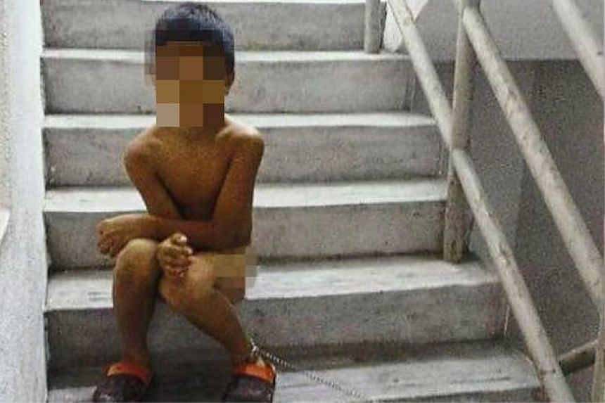 The eight-year-old boy had been left at the stairway so long that he had to relieve himself there.