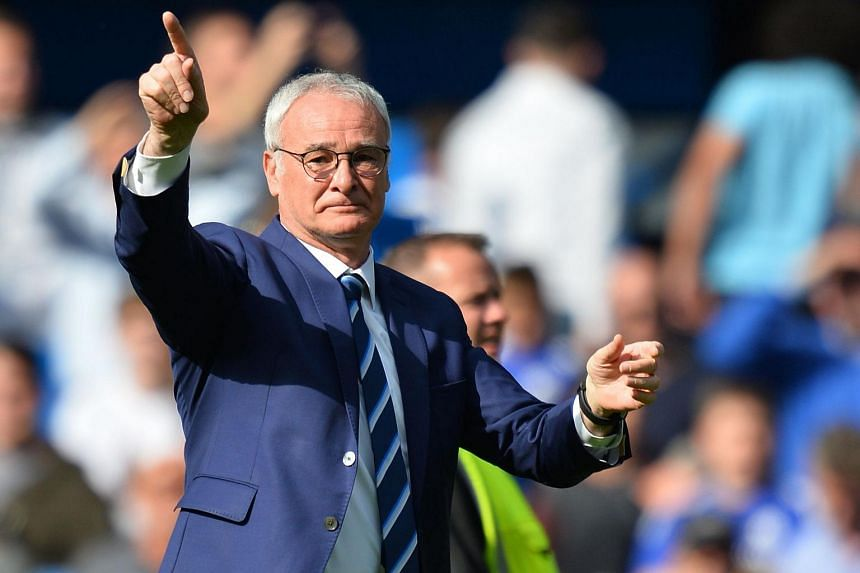 Leicester City's Italian manager Claudio Ranieri gesturing after the English Premier League football match between Chelsea and Leicester City on May 15, 2016.