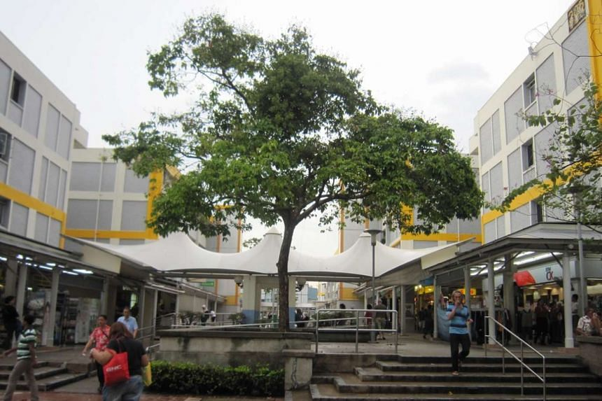 (Before) Bedok Town Centre pedestrian mall had a lot of steps before the revamp.