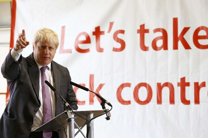 Former mayor of London and Vote Leave campaigner Boris Johnson speaks during a visit to Reid Steel, on a campaign stop in Christchurch, Britain, on May 12, 2016.