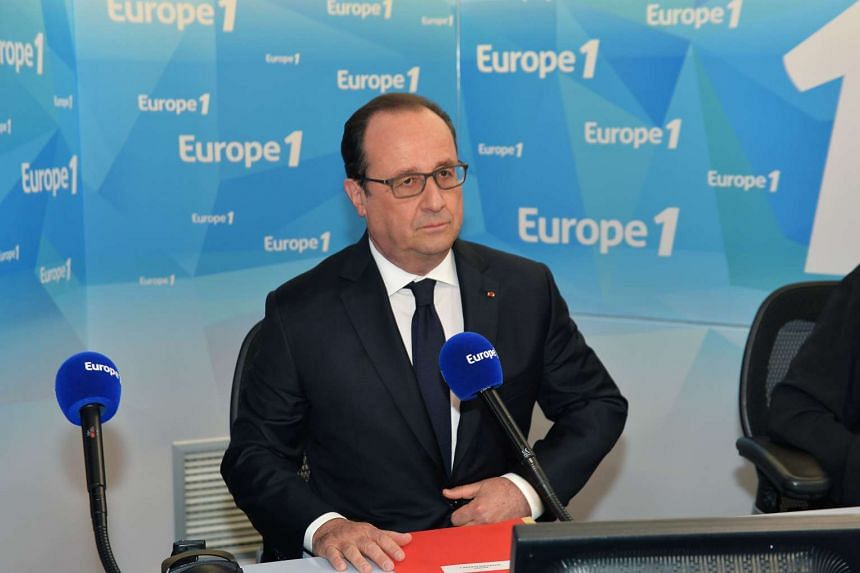 French President Francois Hollande speaking during a morning radio show on France's Europe 1 station in Paris on May 17, 2016.