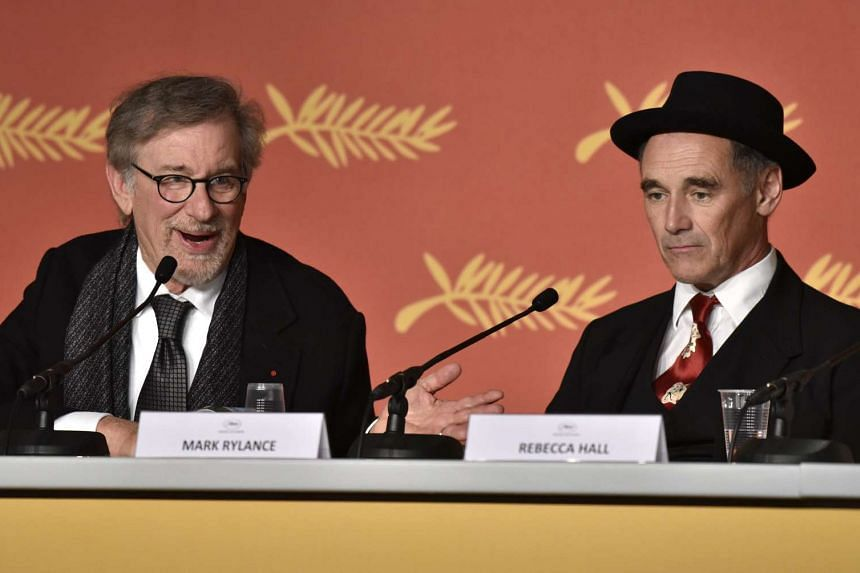 Mark Rylance (right) and Steven Spielberg attend the press conference for The BFG at the 69th Cannes Film Festival, on May 14, 2016.