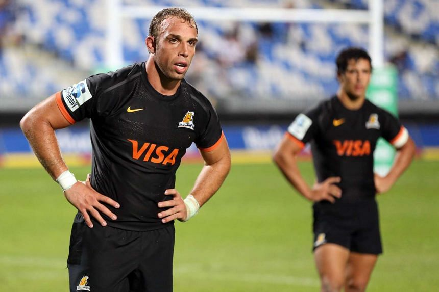 Leonardo Senatore of the Jaguares looking on during the Super Rugby match between New Zealand's Auckland Blues and Argentina's Jaguares on April 2, 2016.