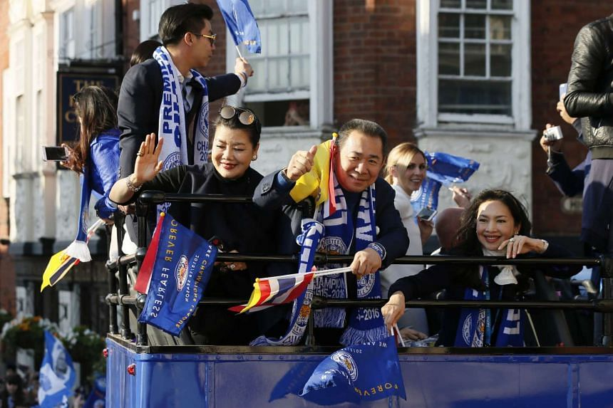 Leicester City chairman Vichai Srivaddhanaprabha during the parade on top of an open-top bus.