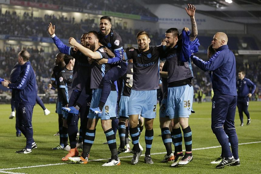 Sheffield Wednesday celebrating after the game against Brighton.