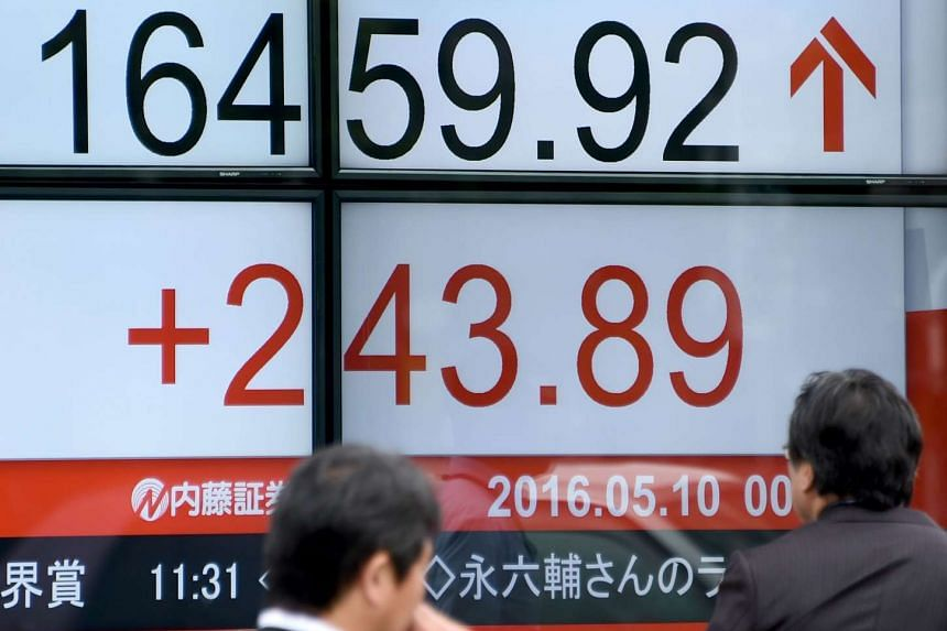 An electronic stock indicator in Tokyo on May 10.