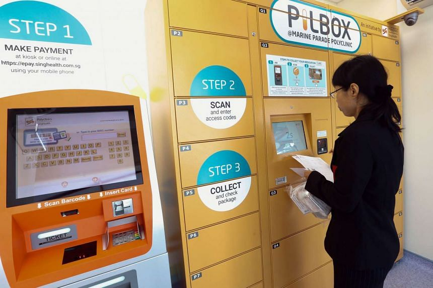 Marine Parade Polyclinic's new medication collection service, called Pilbox, which allows patients with chronic illnesses to collect medication even after office hours.
