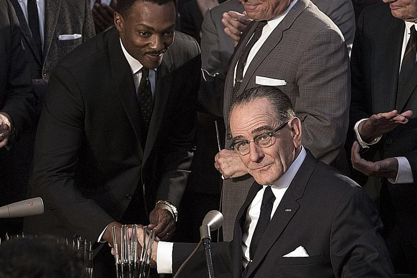 Bryan Cranston (right) plays United States president Lyndon B. Johnson and Anthony Mackie (left) is Martin Luther King Jr in All The Way, directed by Jay Roach.
