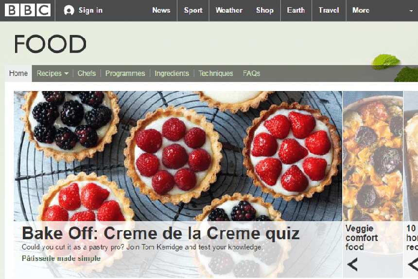 A screenshot of the BBC food website.