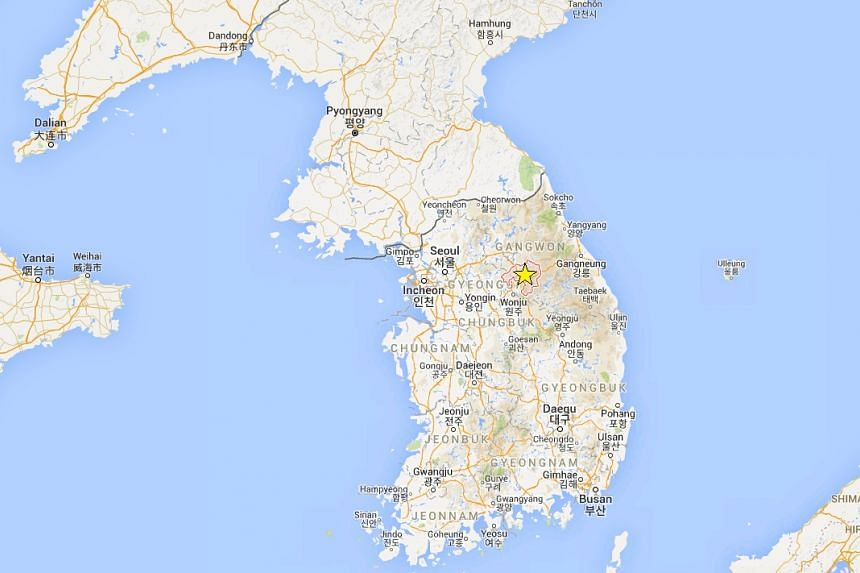 A supposed 6.5-magnitude earthquake in South Korea's Hoengseong (marked with a yellow star) turned out to be part of a disaster drill.