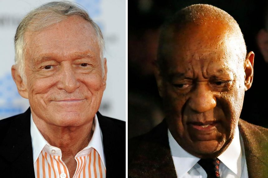 A model has filed a civil sexual assault case against Cosby and Playboy boss Hefner (left), who she said would have helped Cosby in the famous Playboy Mansion.