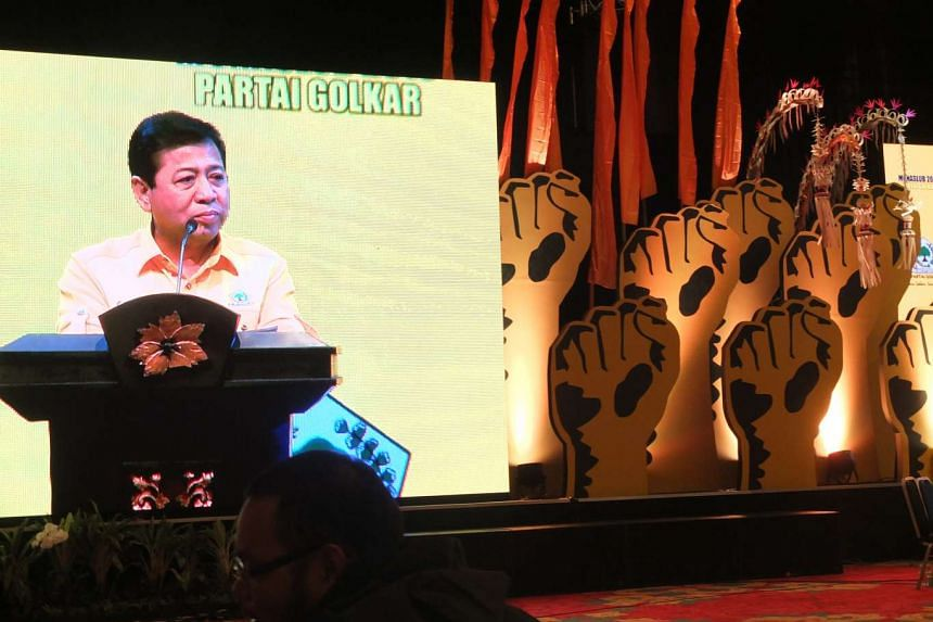 Newly-elected Golkar chairman Setya Novanto delivers his victory speech on May 17 at the party's congress in Nusa Dua, Bali.
