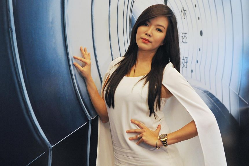 Rui En poses during the press conference for new Channel 8 drama If Only I Could.